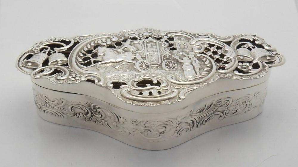edwardian silver wedding scene pot pourri box william comyns