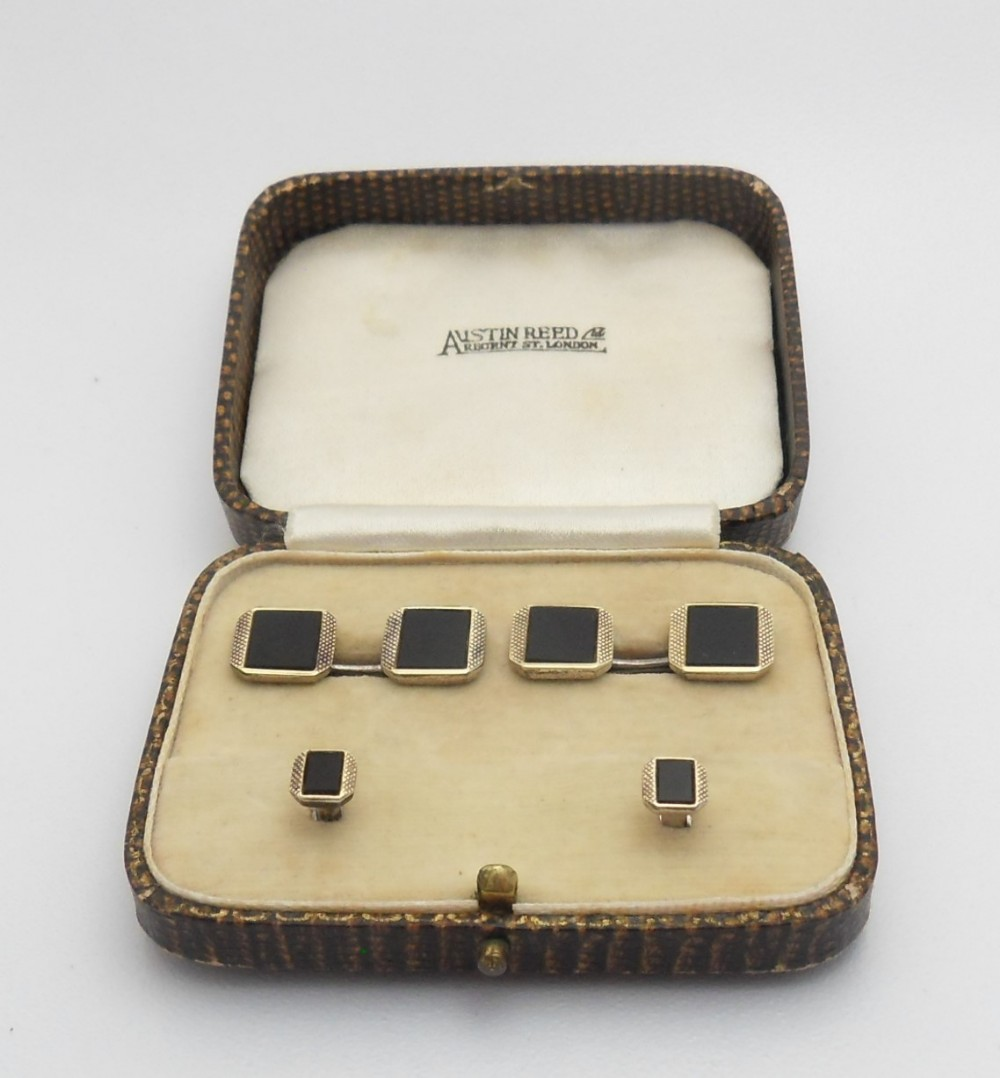 Pair Of Art Deco Cufflinks And Shirt Studs Marked 14ct Silver With Austin Reed Box 770375 Sellingantiques Co Uk