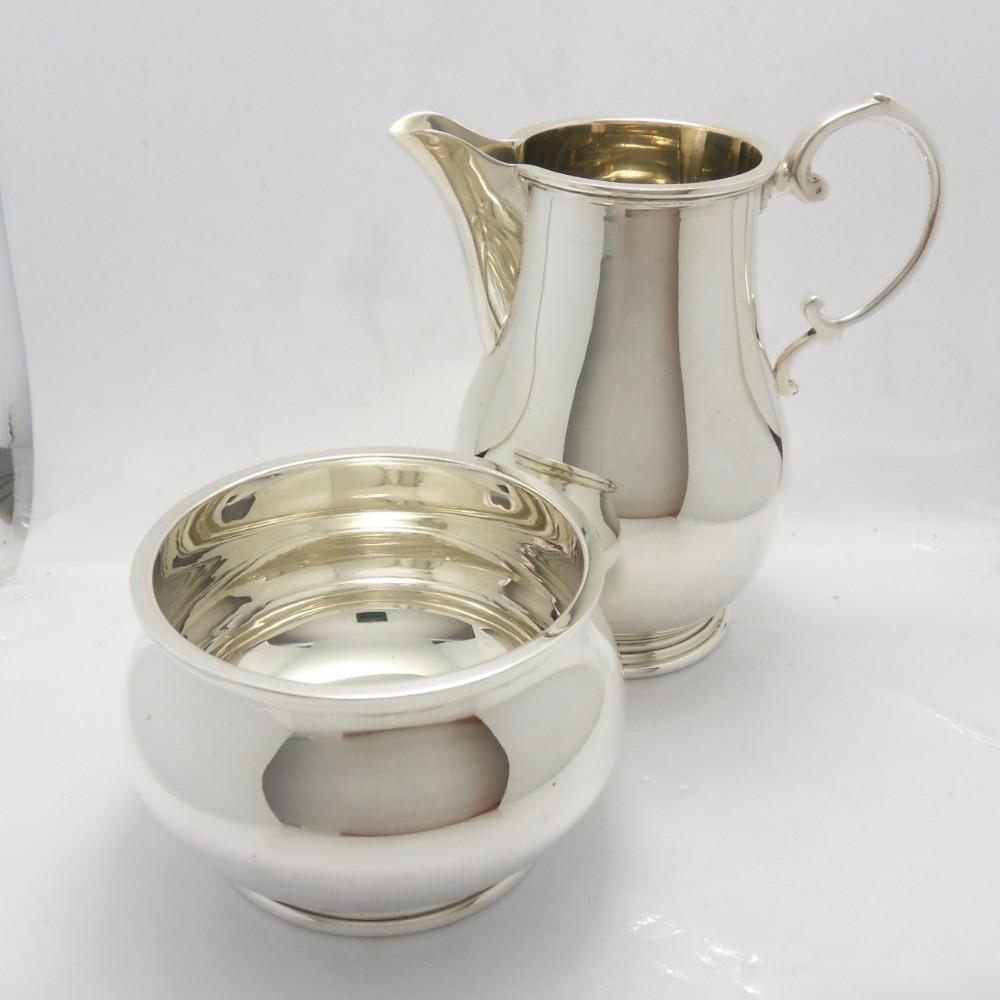 matching silver cream jug sugar bowl birm 1967
