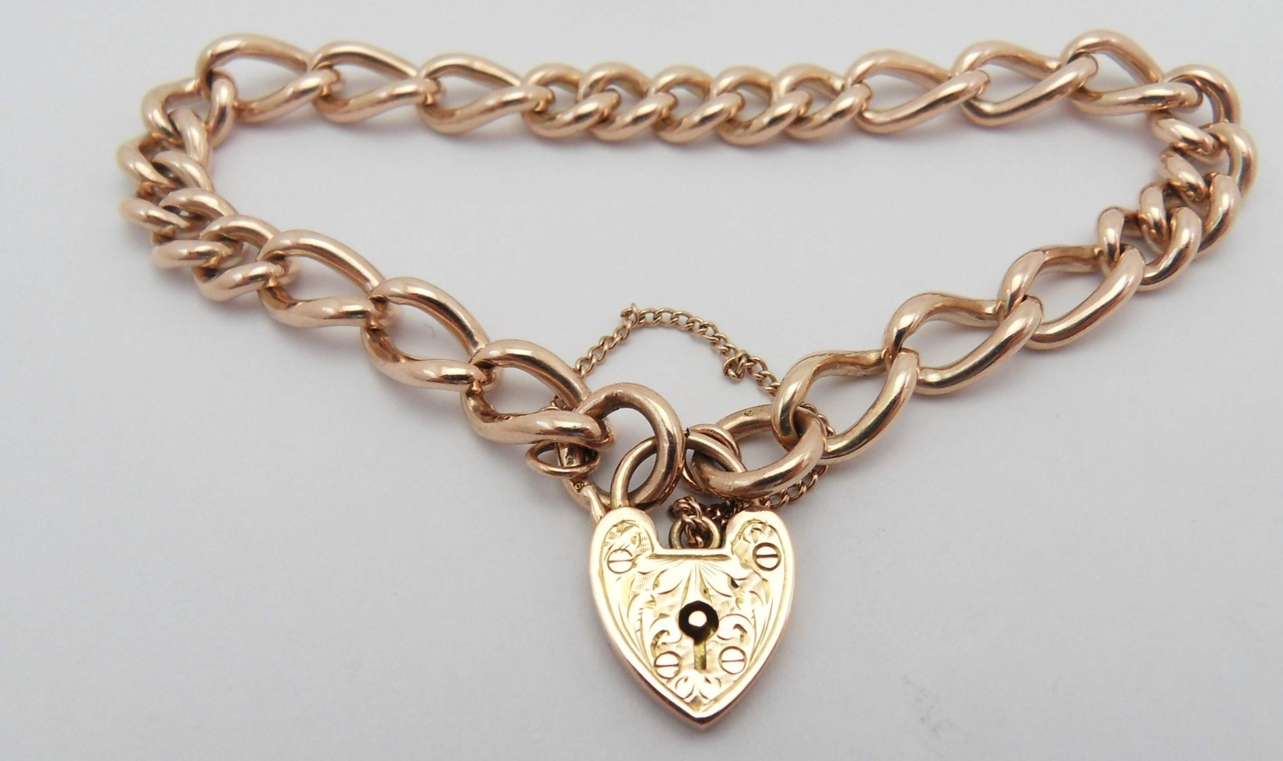 edwardian 9ct rose gold heart clasp bracelet