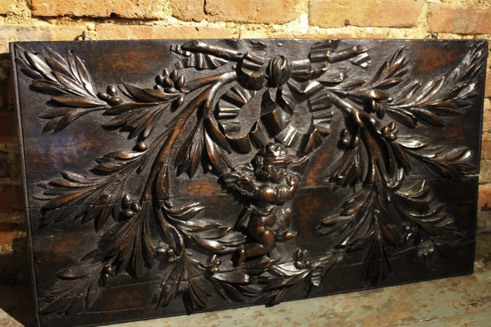Large th century carved oak panel