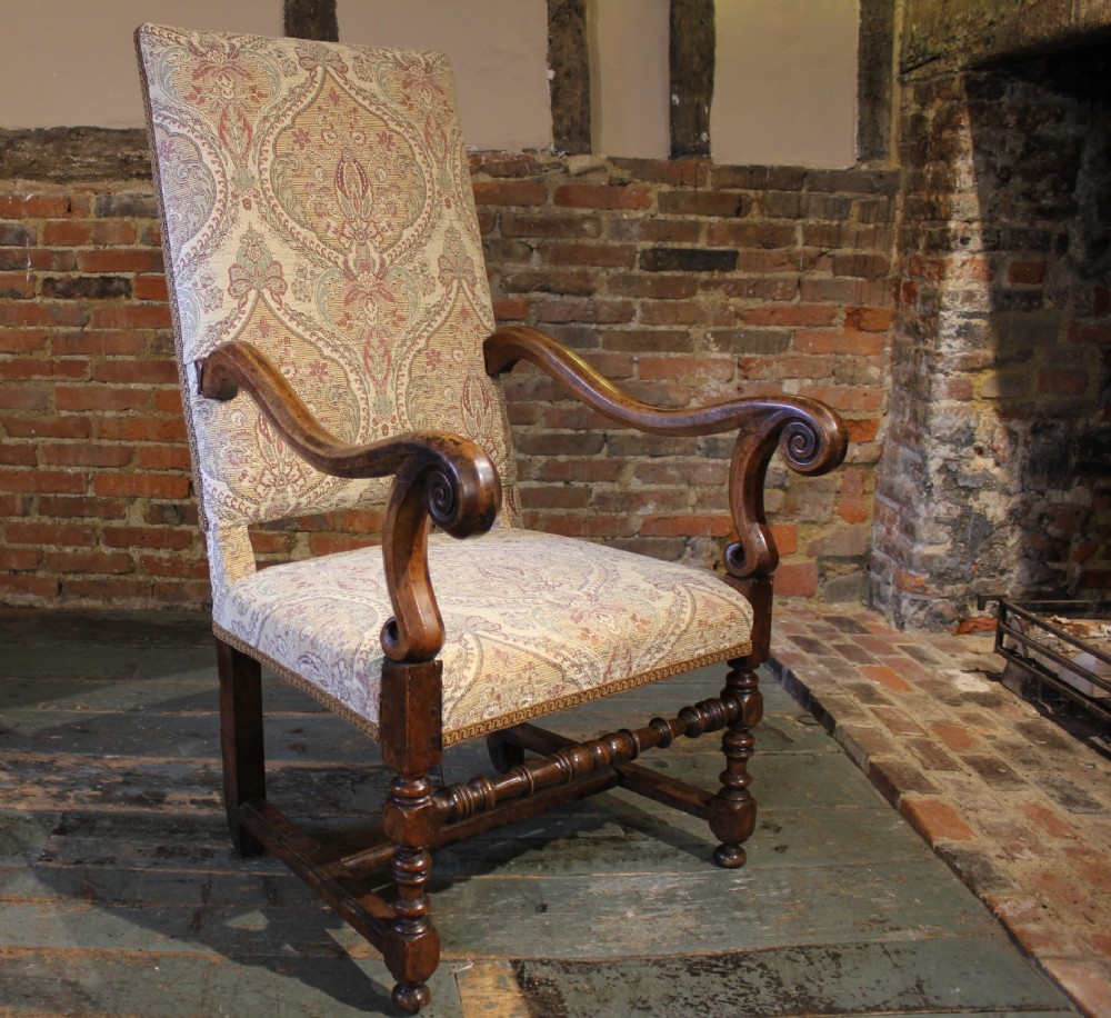 large 18th century walnut armchair