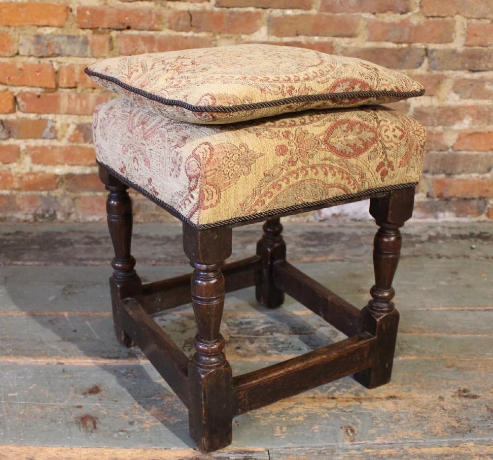 17th century upholstered oak stool