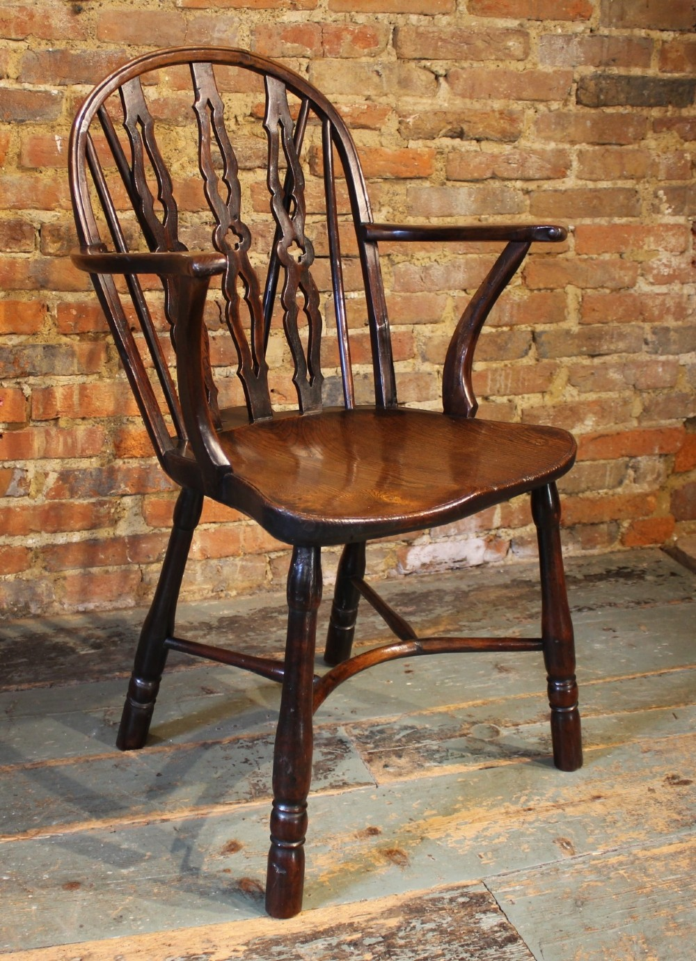 unusual 19th century windsor armchair