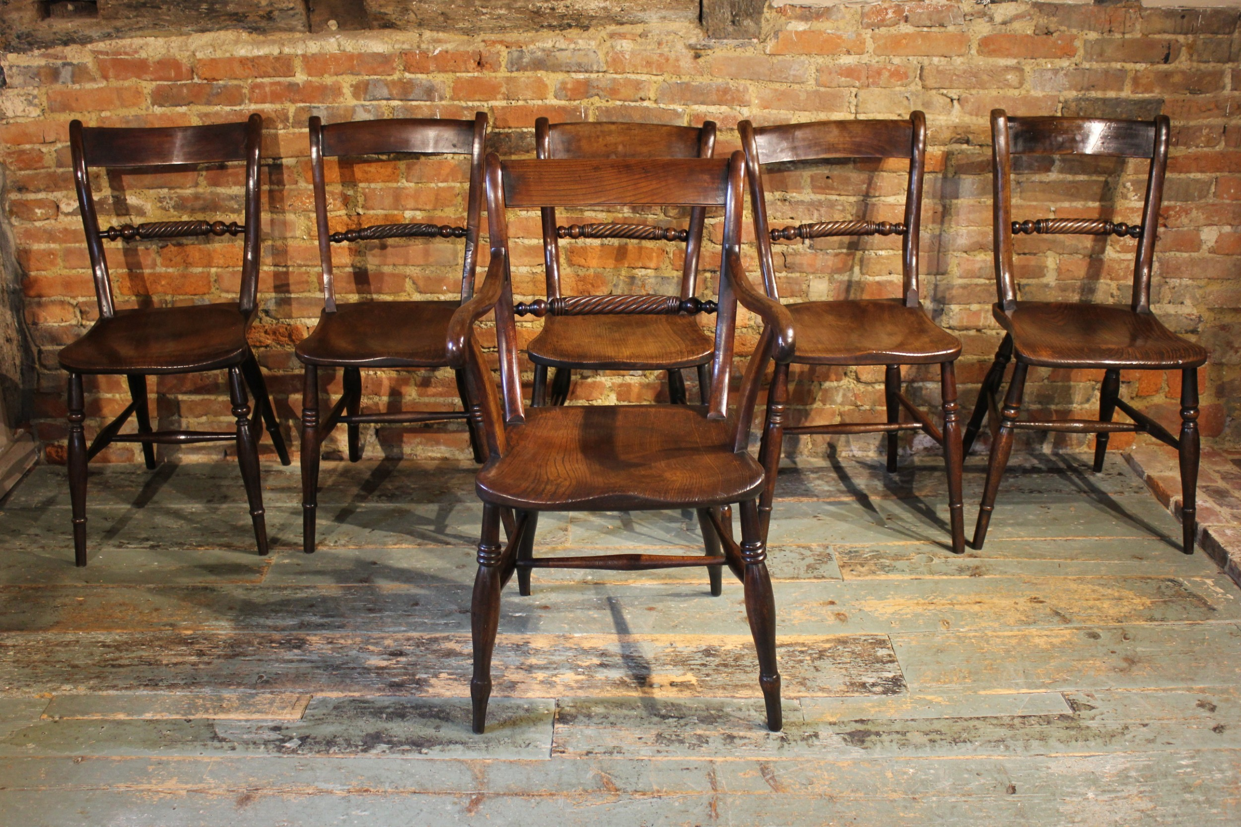 set of six rope back windsor chairs