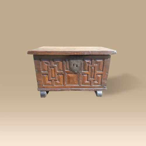 a geometrically carved small gothic chest dating to 16th century made from oak chestnut