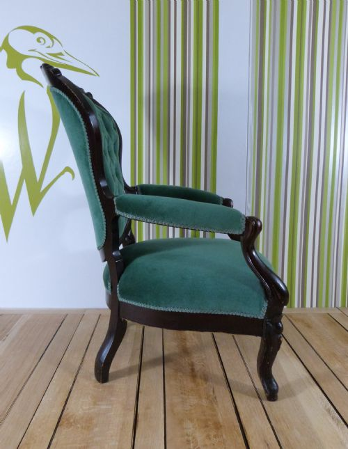 Description. A Stained Wood Victorian Occasional Chair ...