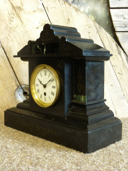 French 8 Day Slate Mantel Clock 450452 Sellingantiques