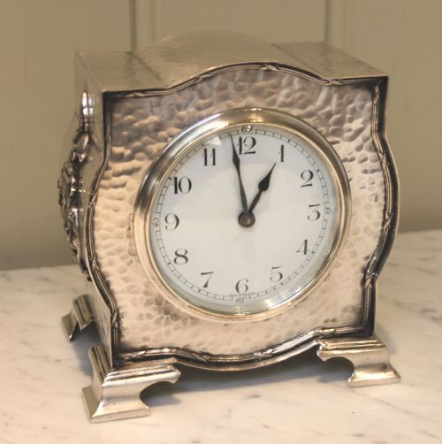 Arts and crafts silver plated mantel clock 216158 for Arts and crafts mantle clock