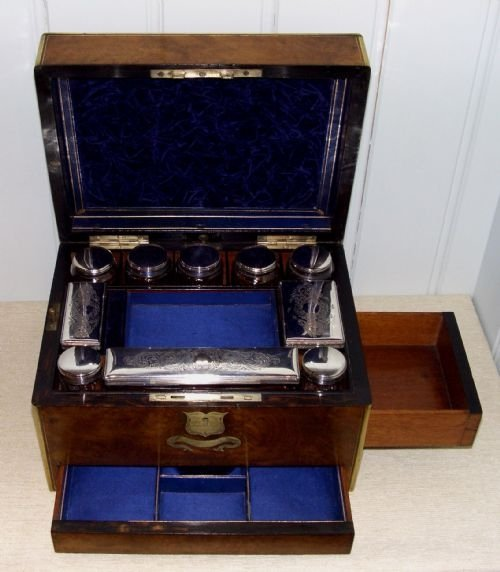 fitted burr walnut vanity case - photo angle #3