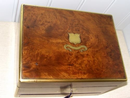 fitted burr walnut vanity case - photo angle #5