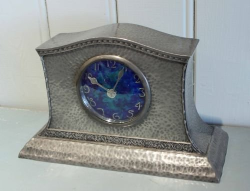 Pewter arts and crafts mantel clock 139772 for Arts and crafts clocks for sale