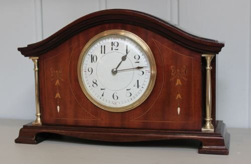 edwardian mahogany and inlaid mantel clock