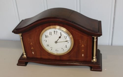 edwardian mahogany and inlaid mantel clock - photo angle #2