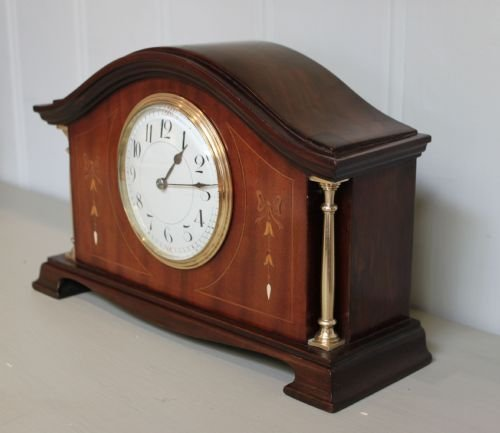 edwardian mahogany and inlaid mantel clock - photo angle #3