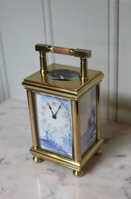 unusual enamel panel carriage clock - photo angle #2
