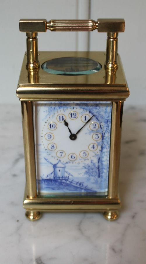 unusual enamel panel carriage clock - photo angle #3