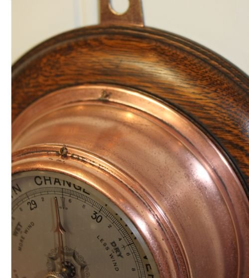 small copper aneroid barometer - photo angle #3