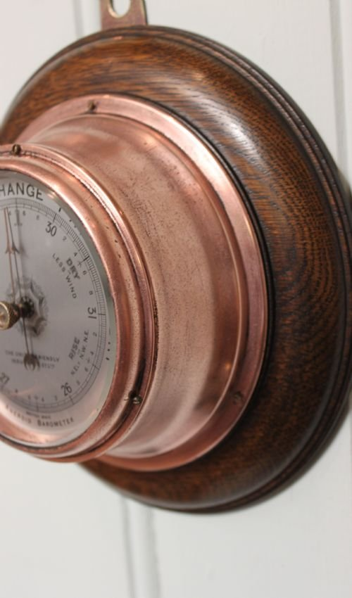 small copper aneroid barometer - photo angle #4