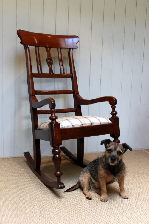 substantial fruitwood rocking chair - photo angle #2