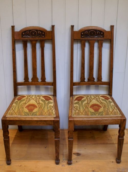 Solid oak arts and crafts dining chair 39159 for Arts and crafts for sale
