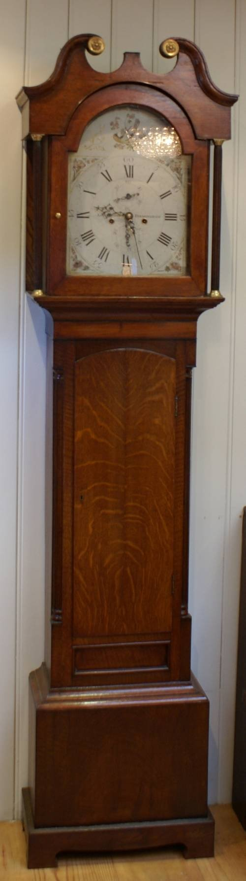 late 18th century solid oak cased longcase clock c 1800