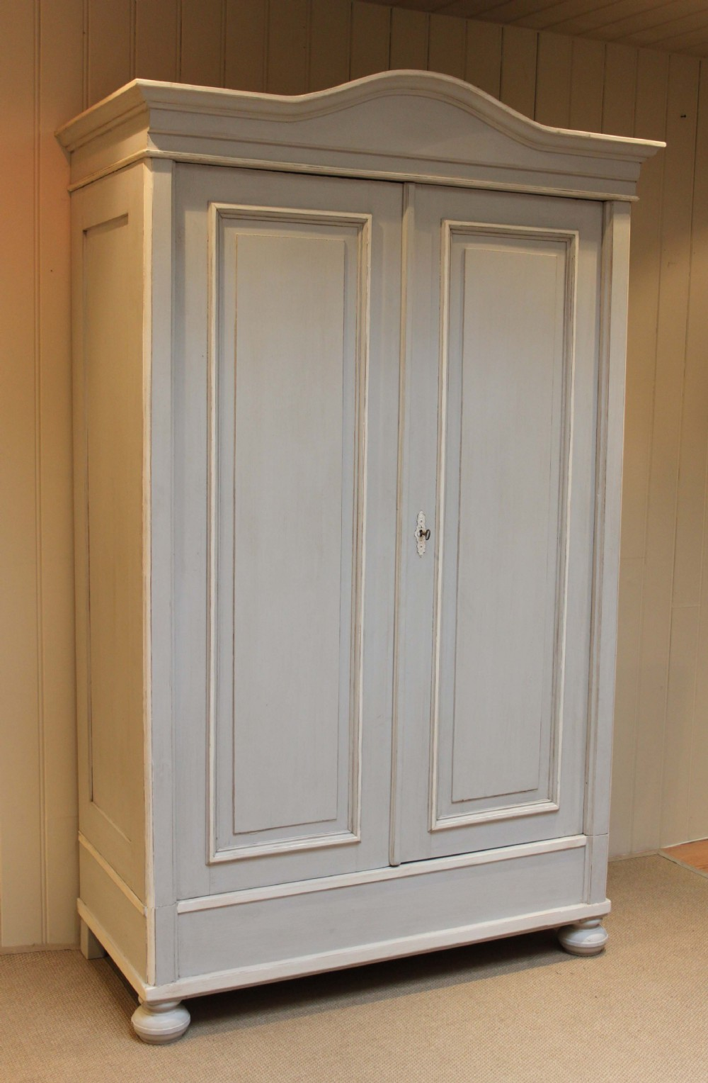 Large Continental Painted Pine Wardrobe