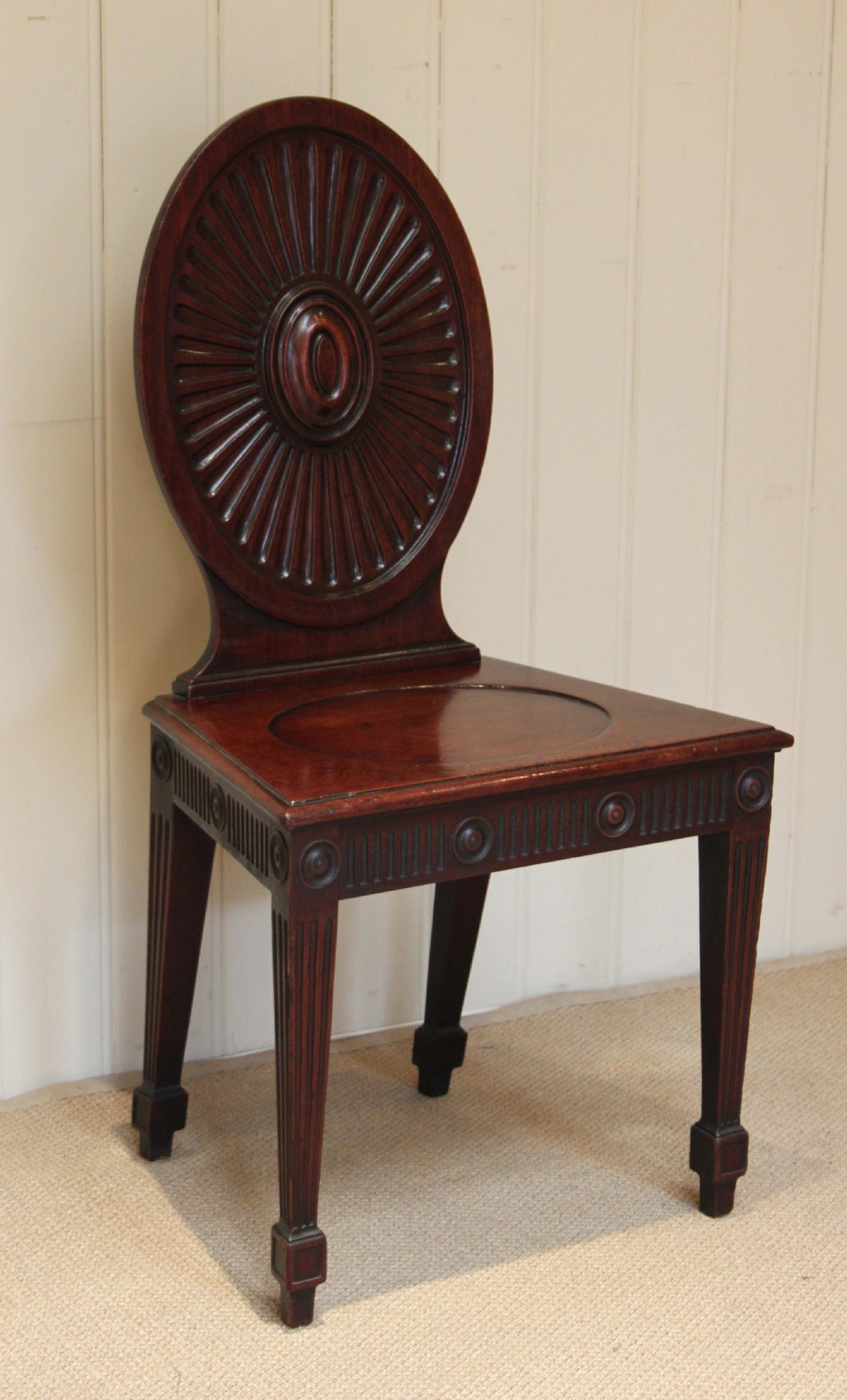 late georgian mahogany hall chair - Late Georgian Mahogany Hall Chair 268062 Sellingantiques.co.uk