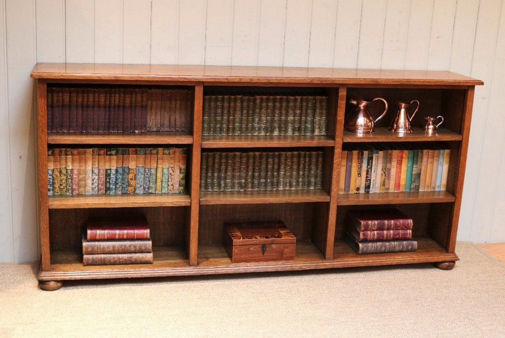 Low Wide Open Oak Bookcase | 457165 | Sellingantiques.co.uk