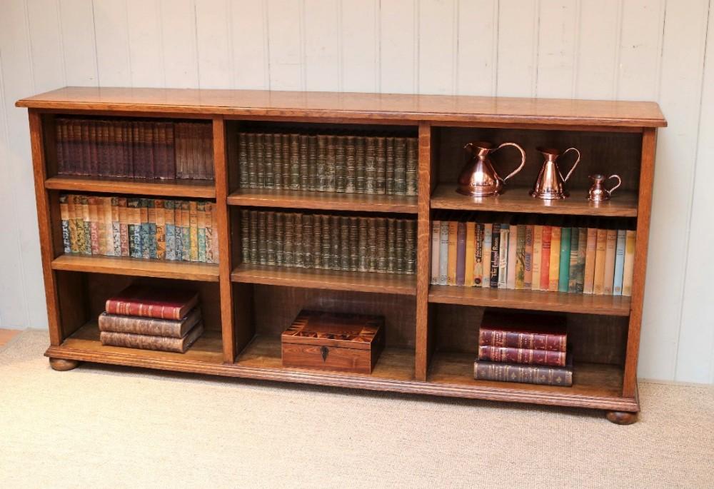 Low Wide Open Oak Bookcase | 457165 | Sellingantiques.co.uk