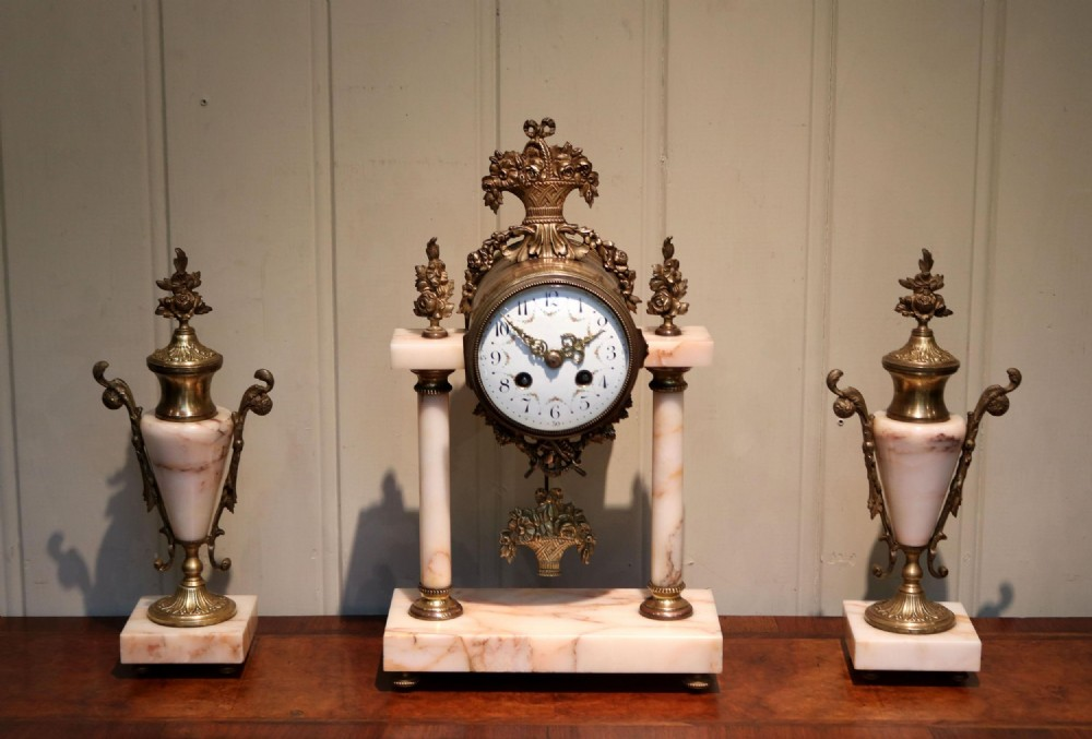 french marble and brass clock garniture