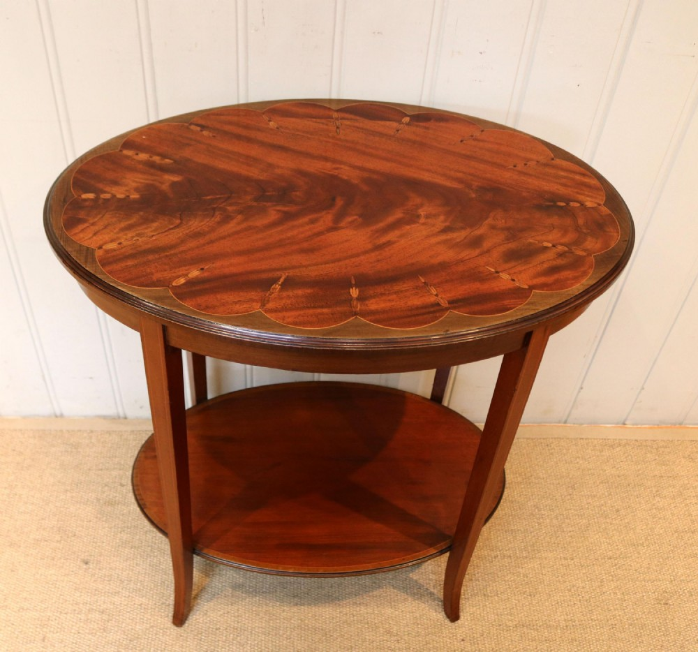 edwardian inlaid mahogany oval table