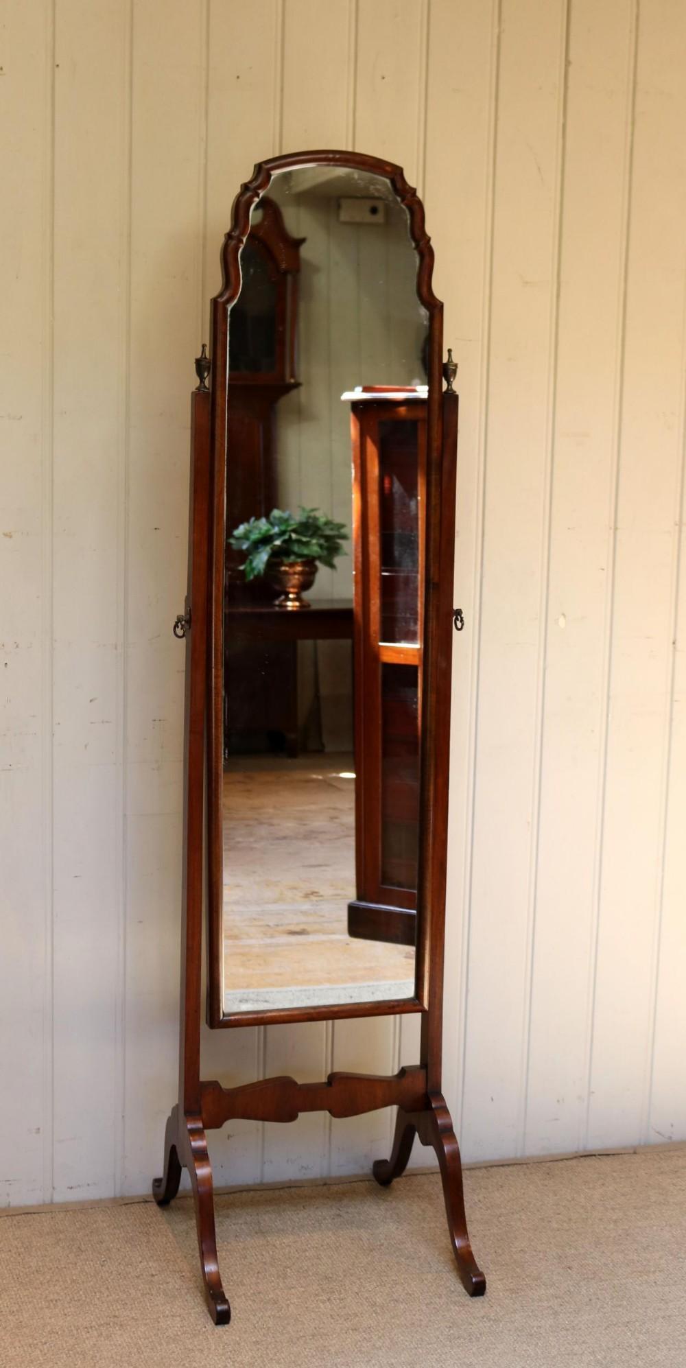 walnut cheval mirror