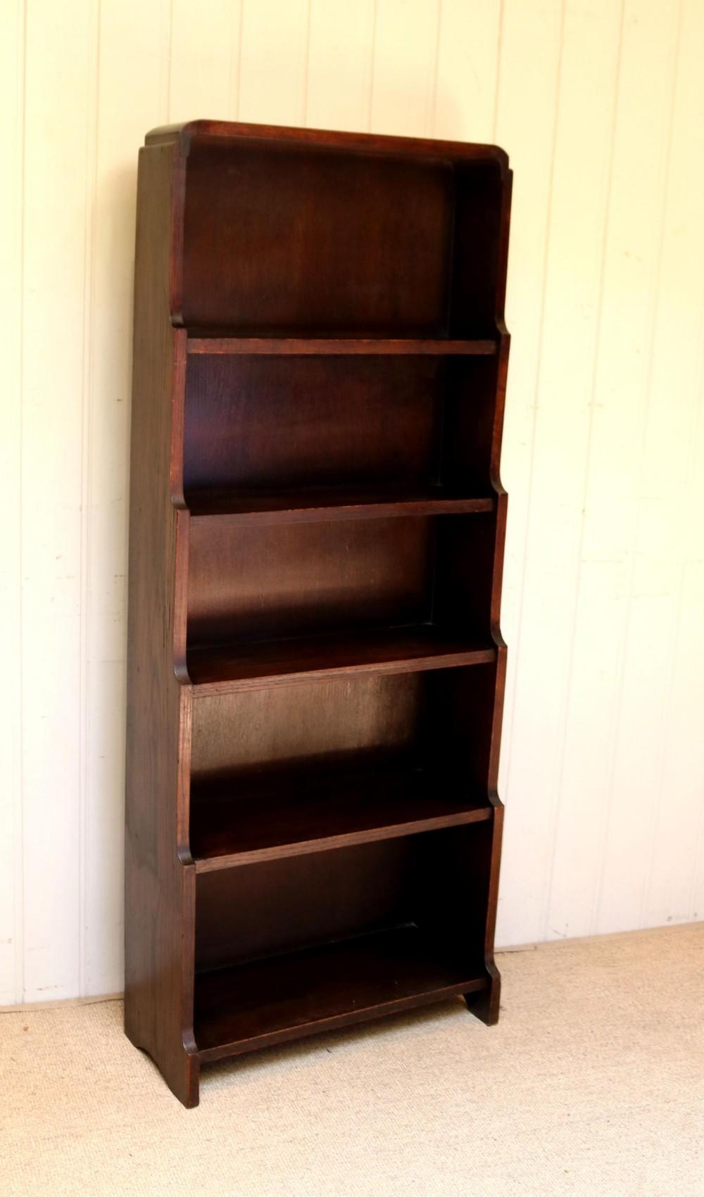 oak art deco open bookcase