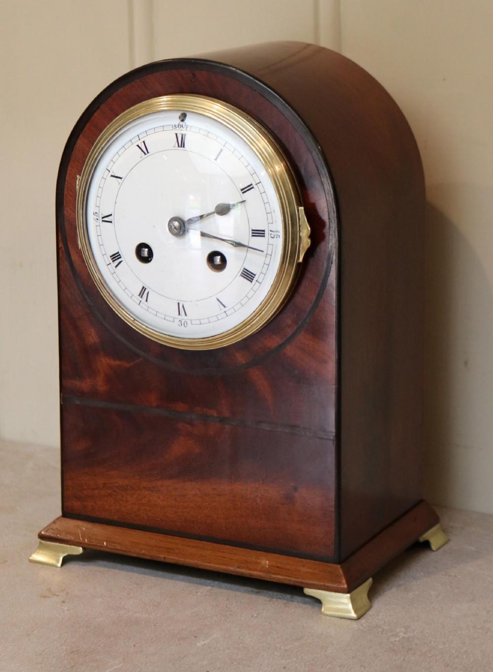 edwardian mahogany arch top mantel clock