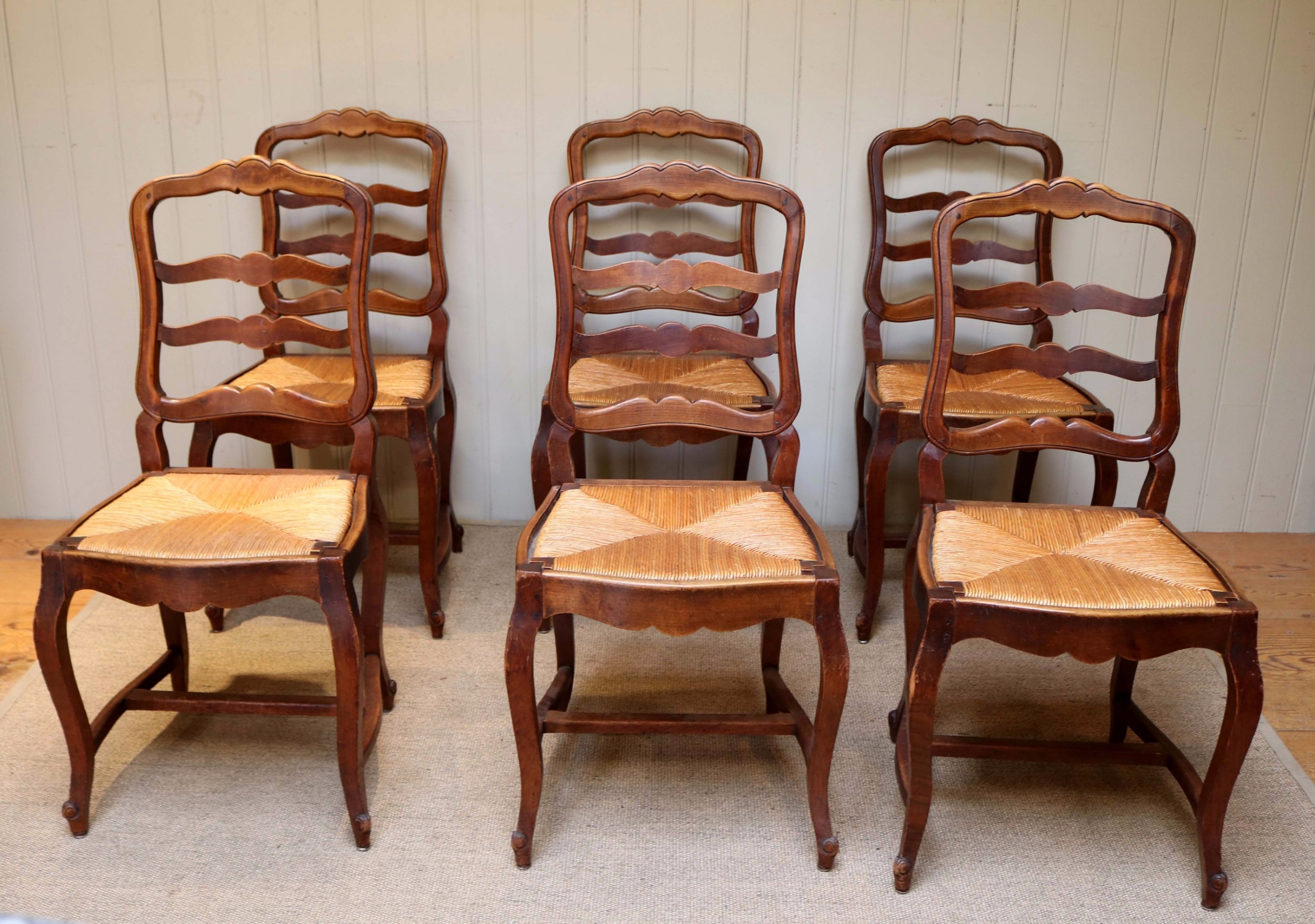 Set Six French Cherry Wood Dining Chairs