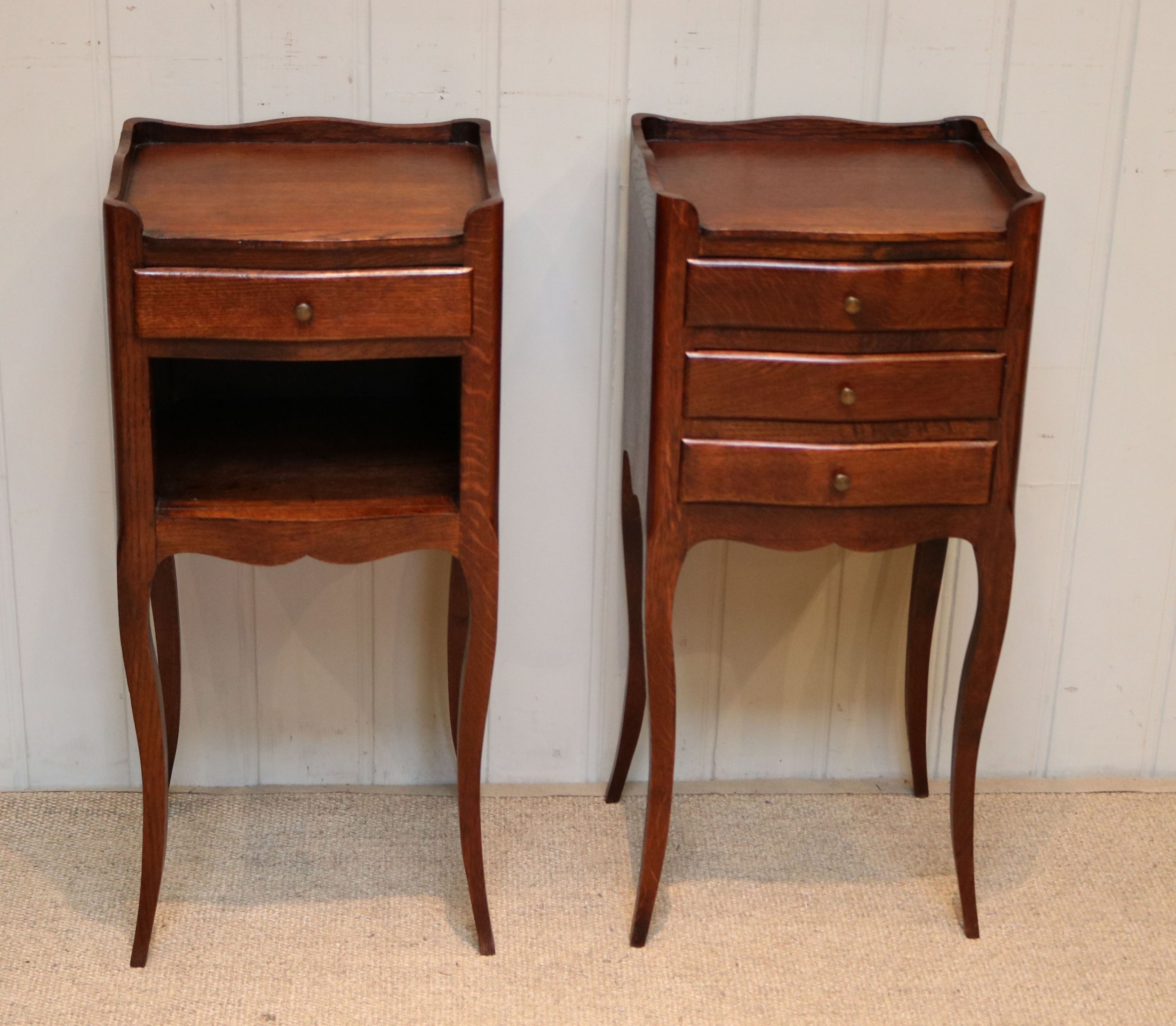 pair of french oak bedside tables