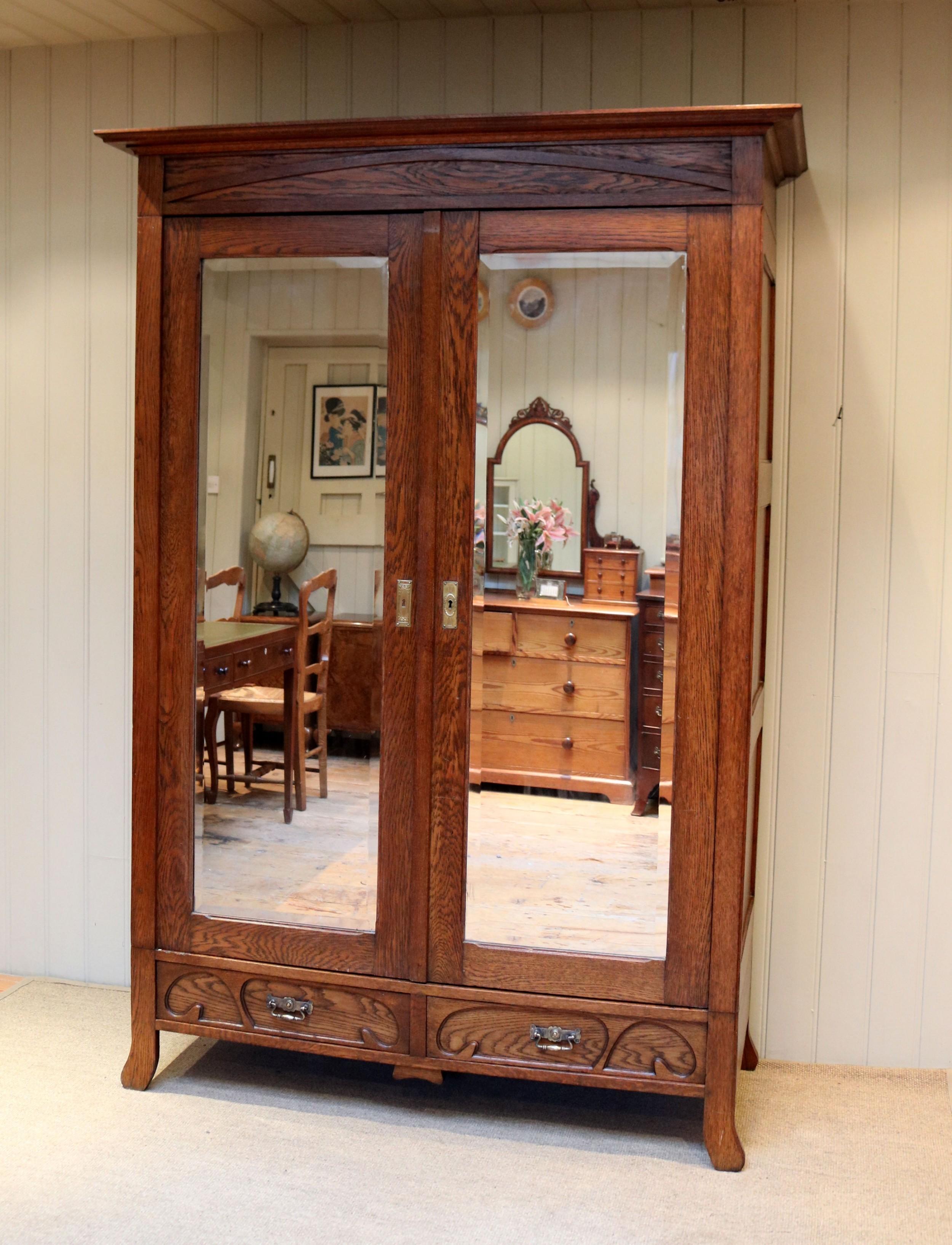 french oak art nouveau wardrobe