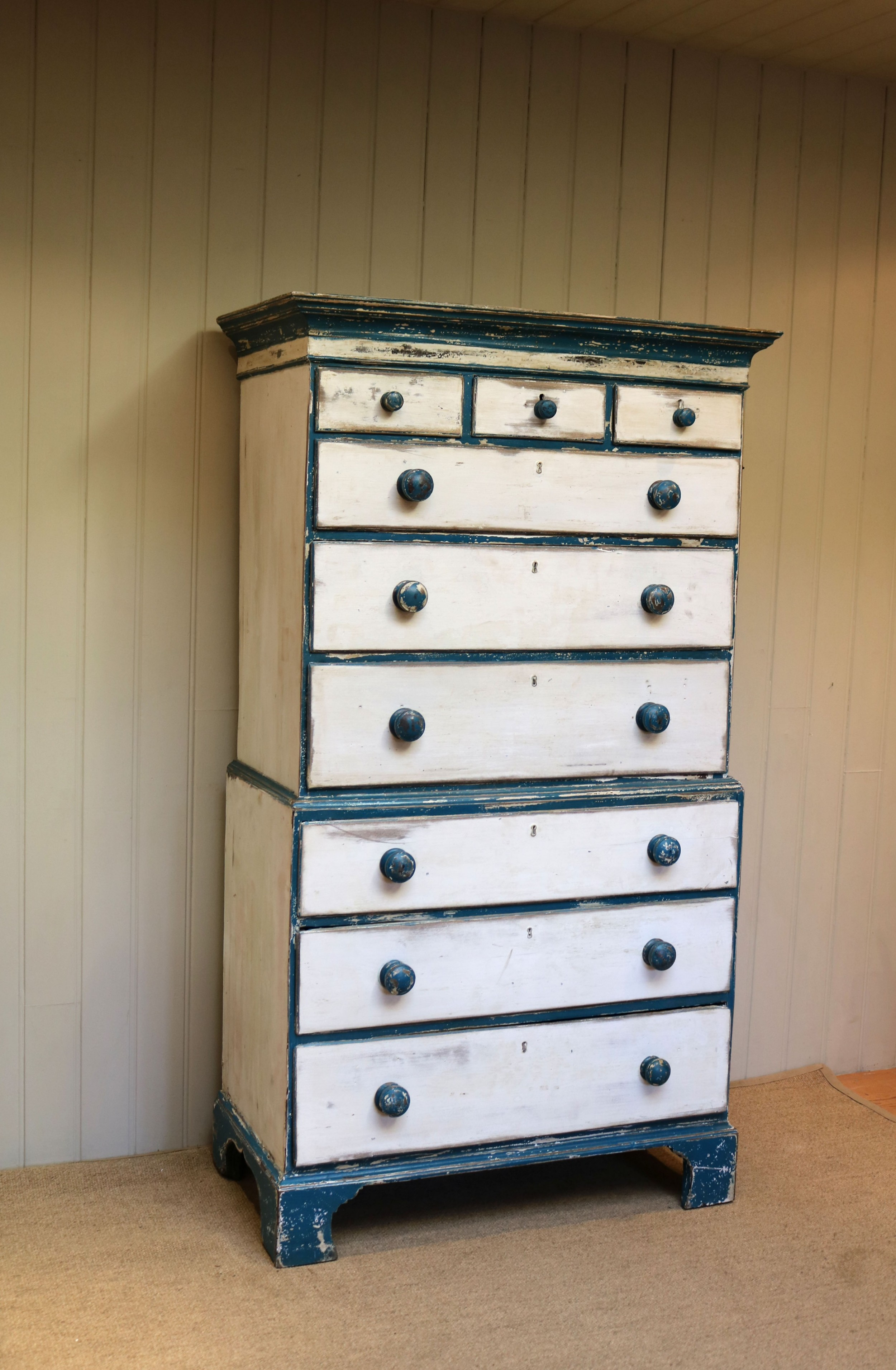 early 19th century painted pine chest on chest