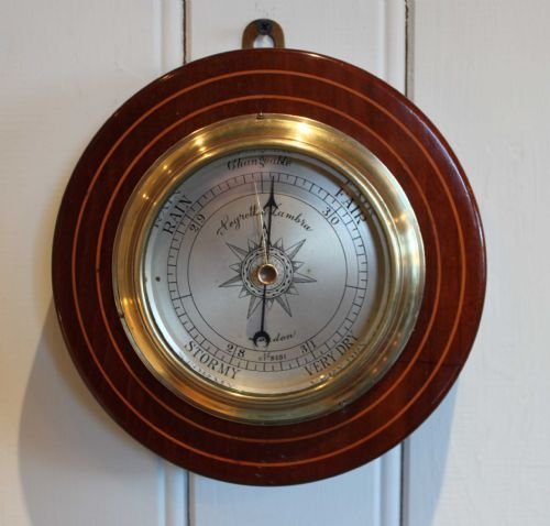 edwardian mahogany and inlay aneroid barometer