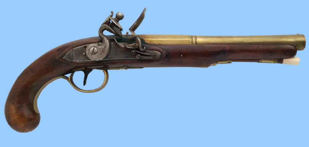 antique english officers flintlock holster pistol by barnett