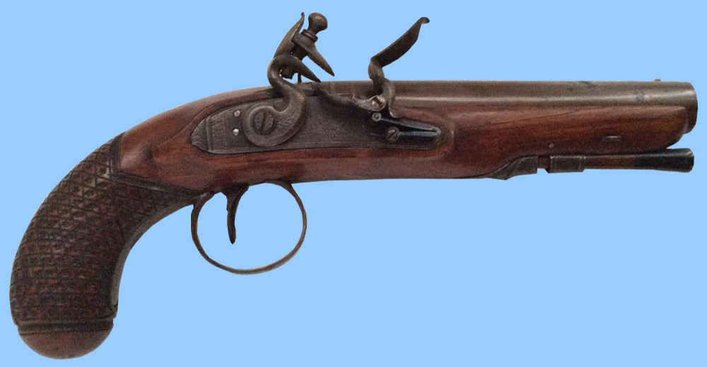 antique gun english flintlock travelling pistol by bond