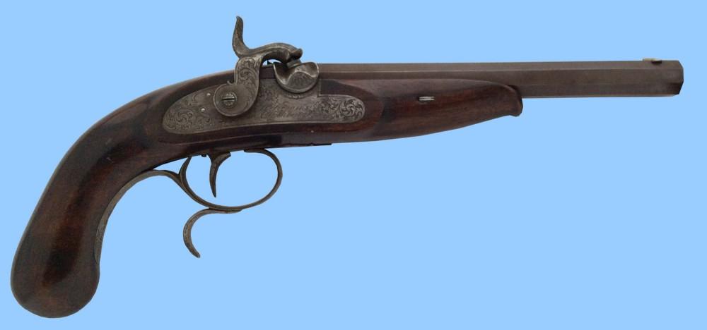 antique gun german percussion rifled duelling pistol