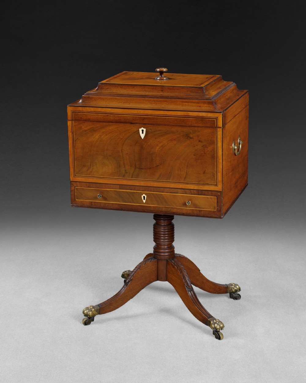 regency mahogany and satinwood teapoy with brass carrying handles