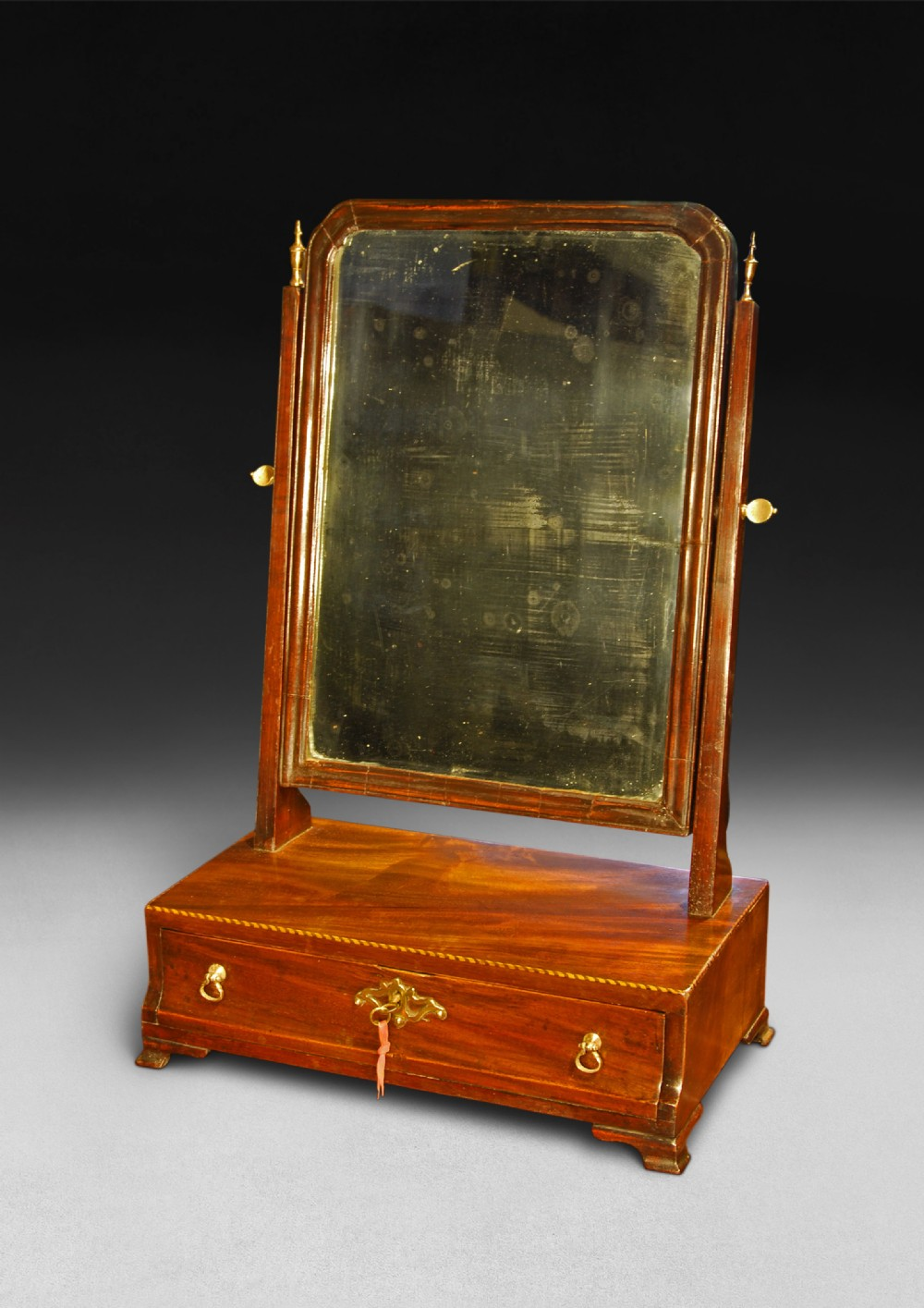 chippendale period mahogany toilet mirror