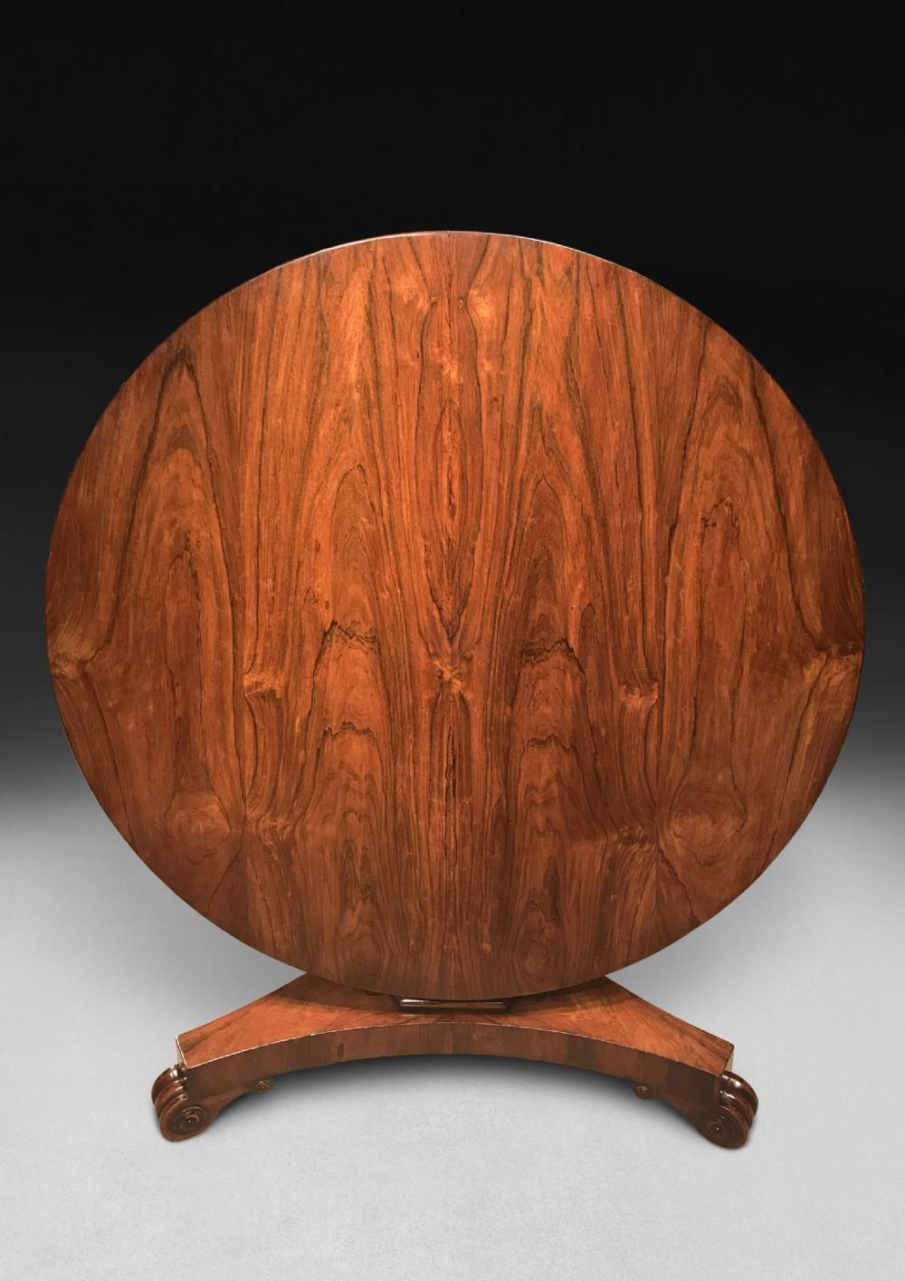 regency period rosewood circular dining centre table
