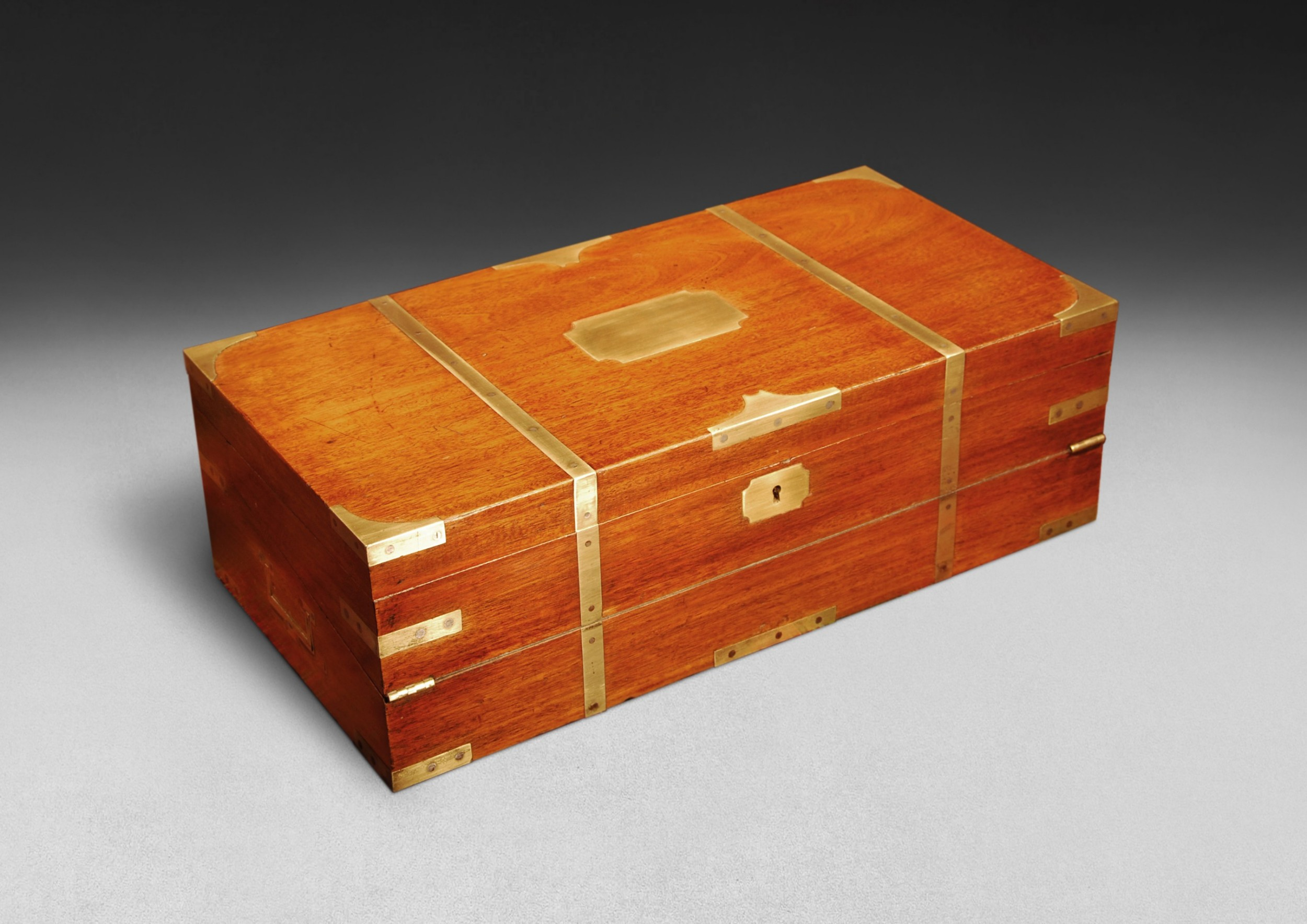 mid19th century teak and brass bound campaign writing box
