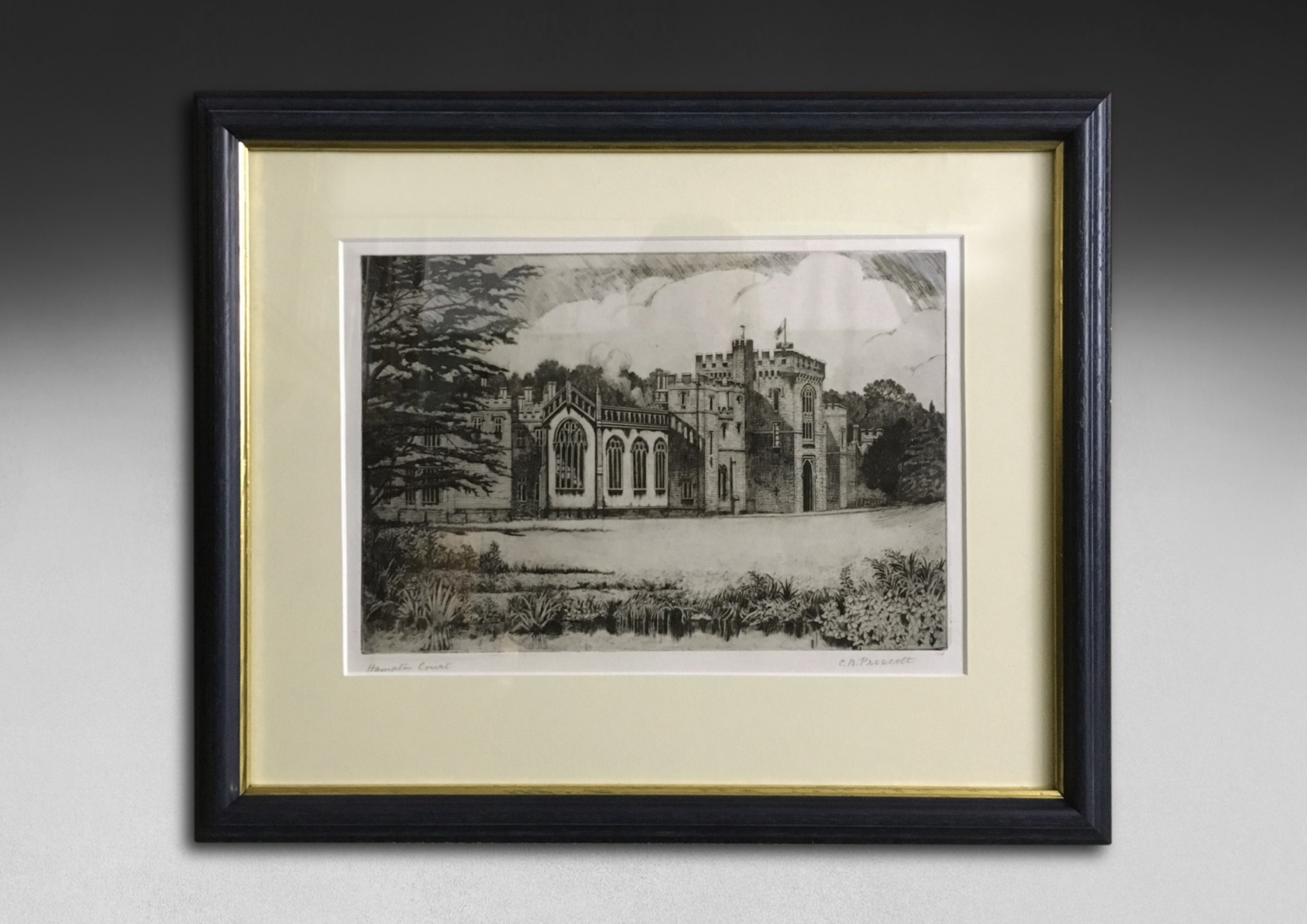 early 20th century black and white etching cb prescott hampton court herefordshire