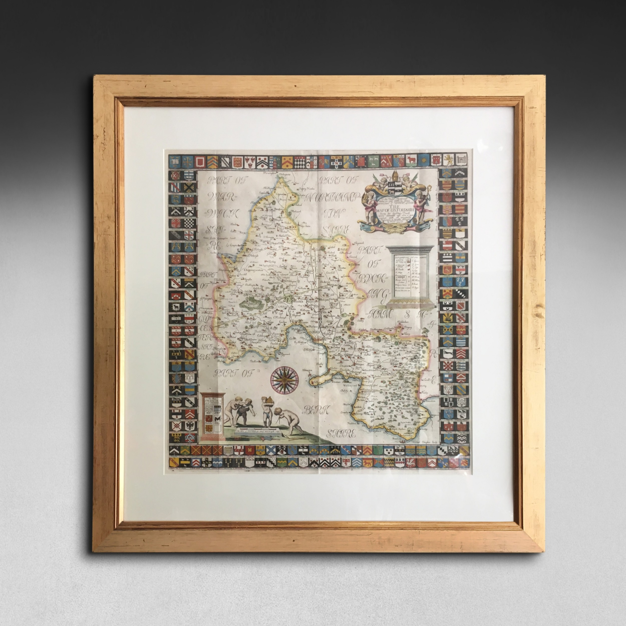 hand coloured engraved map of oxfordshire by robert plot