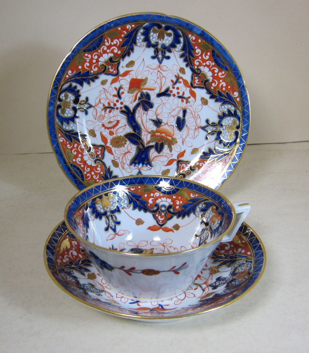 english possibly coalport porcelain king's pattern breakfast cupsaucer plate